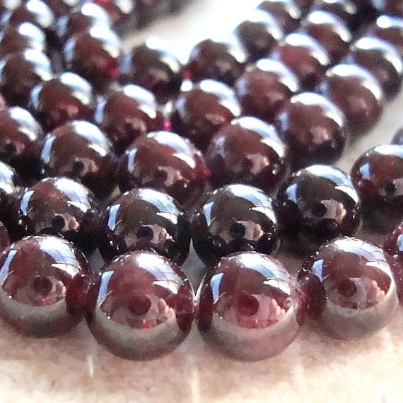 Garnet Beads 8mm Smooth Deep Cranberry Red Round Gemstones - 12 Pieces