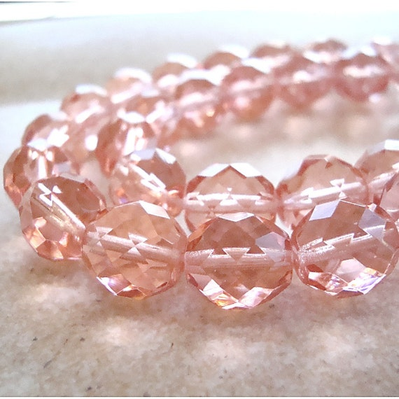 Czech Glass Beads 8mm Rose Pink Faceted Round  - 12 Pieces