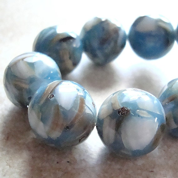 Resin Beads 14mm Hawaiian Blue Marbled MOP and Resin Smooth Rounds - 6 Pieces