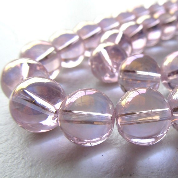 Glass Beads 12mm Pink Iridescent AB  Smooth Round Balls - 6 Pieces