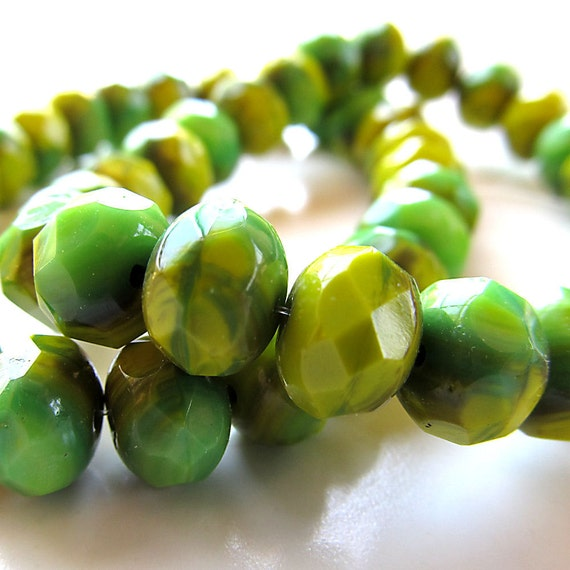 Czech Glass Beads 9 x 6mm Designer Two Tone Lime Chartreuse Green Faceted Rondelles - (Last 14 Pieces)