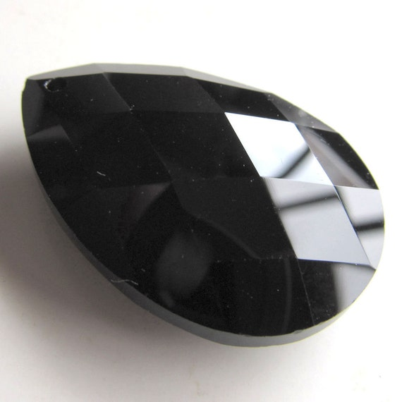 Crystal Glass Pendant 38 x 24mm Shiny Black Faceted Lead Safe Teardrop - 1 Piece