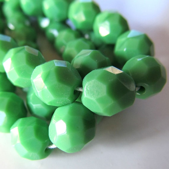 Czech Glass Beads 8mm Lime Green Opaque Faceted Rounds - 12 Pieces