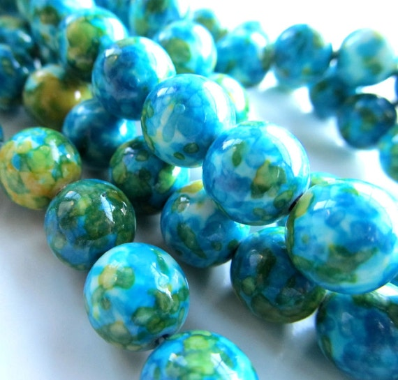 Flower Stone Beads 8mm Aqua White & Lime Smooth Round Stones - 8 inch Strand