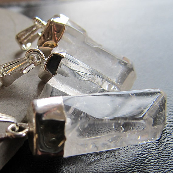 Raw Quartz Crystal Pendant 30mm Clear Rock Quartz Pendant w/Silver Dipped Specimen - 2 Pieces