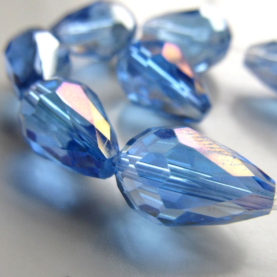 Czech Glass Beads 15 x 10mm Baby Blue Faceted w/ Aurora Borealis Finish Teardrops - (Last 6 Pieces