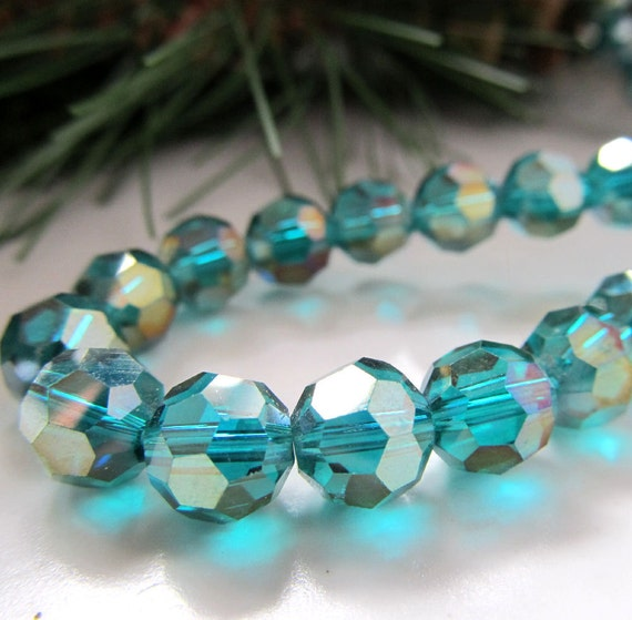 Crystal Glass Beads 8mm Teal Green Faceted w/AB Finish Rounds - 8 Pieces