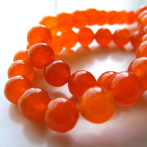 Jade Beads 6mm Tangerine Orange Candy Smooth Round - (Last 24 Pieces)
