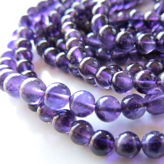 Amethyst Beads 5mm Delicate Violet Purple Translucent Smooth Rounds - 16 inch Strand
