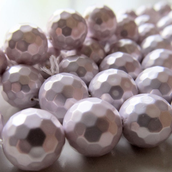 Shell Pearl Beads 10mm Lustrous Lilac Purple Micro Faceted Rounds - 8 inch Strand