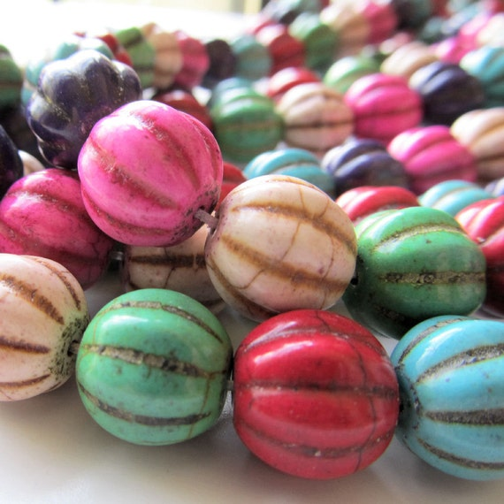 Howlite Beads 12mm Multi Colored Carved Melon -  8 inch Strand