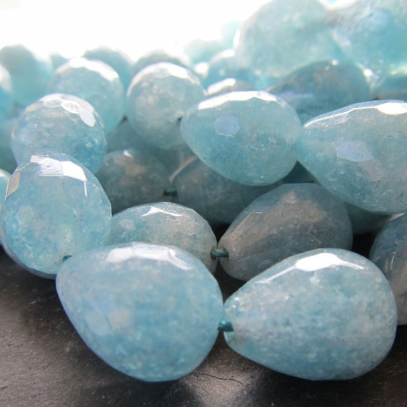 Hemimorphite Beads 14 x 10mm Powder Blue Faceted Full Briolettes - 6 Pieces