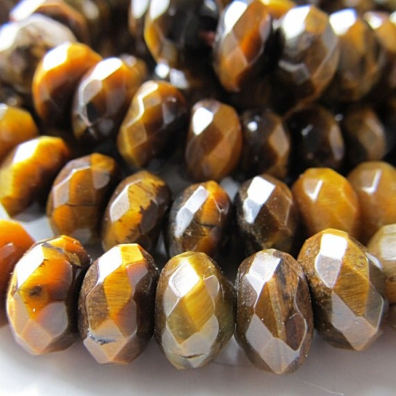 Tiger Eye Beads 8 x 5mm Faceted Chatoyant Golden Brown Rondelles - 8 inch Strand
