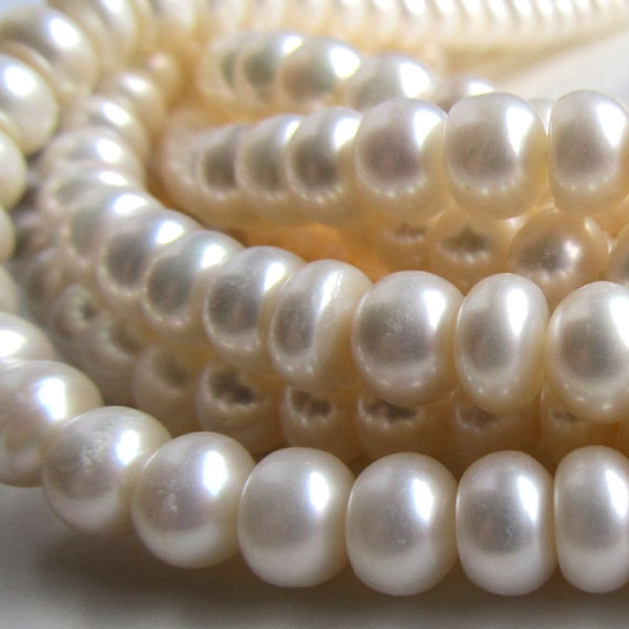 Pearl Beads 8 x 5mm Lustrous Snow White Freshwater Rondelles - 8 inch Strand