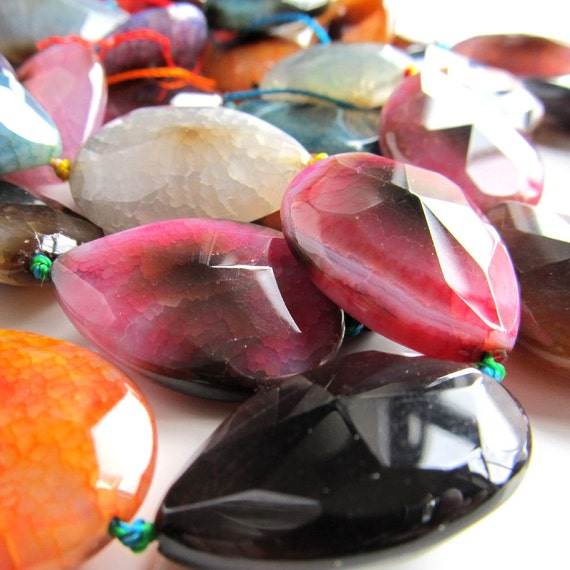 Crab Agate Beads 30 x 20mm Burnt Multi Colored Faceted Teardrops - 6 Pieces