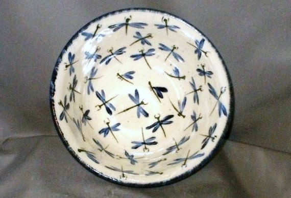 Stoneware Pottery Dragonfly Serving Bowl 10DFBOWL2