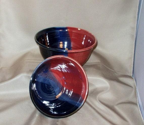 Stoneware Pottery Navy and Raspberry Serving Bowl Set 11BOWL8