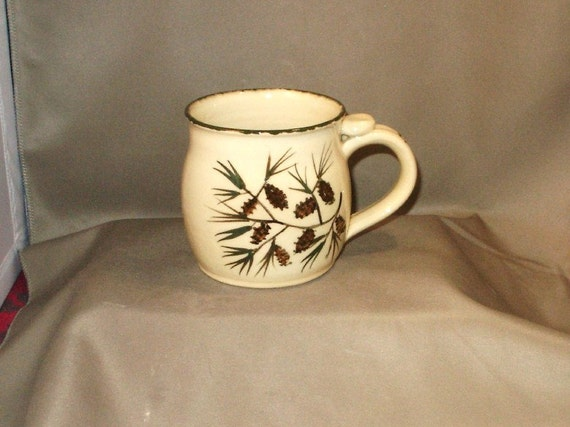 Handmade Pottery Mug-Ceramic Tea Cup-Serving-Kitchen-ready to ship-great gift, 14 oz. Pottery Mug in PineCone 11PCM10