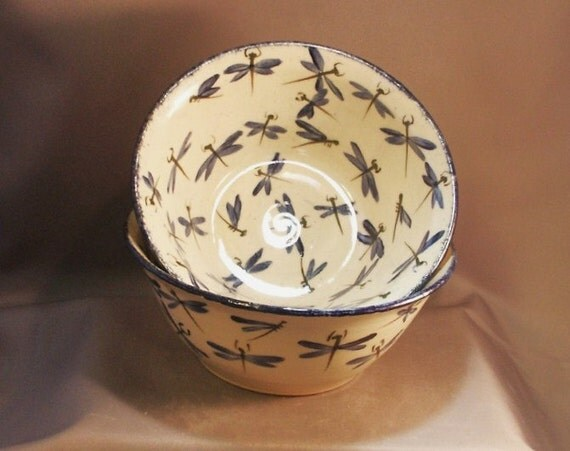 Stoneware Pottery Dragonfly Serving Bowl 12DFBOWL1