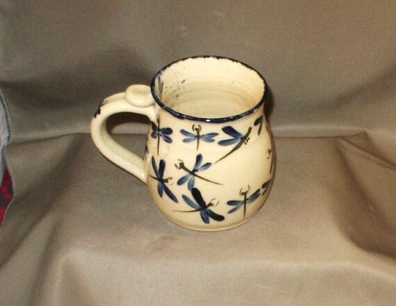 Stoneware Pottery Dragonfly Mugs 09DFM5