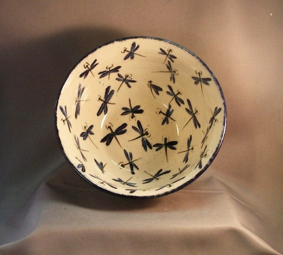 Stoneware Pottery Dragonfly Serving Bowl 12DFBOWL9
