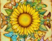 The Golden Flower Mandala - A Fine Art Greeting Card