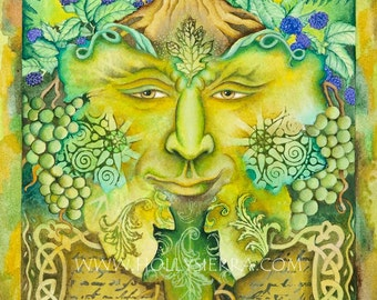 The Celtic Green Man - A Fine Art Greeting Card