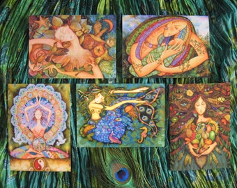 FIVE Holly Sierra Art Cards - You CHOOSE Contents - A Group Of Fine Art Greeting Cards