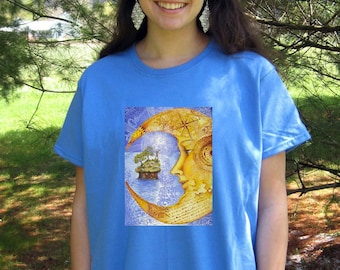 Moon T- SHIRT - Woman's Fine Art Transfer T-Shirt - XS S M L XL 2XL 3XL - Many Image and Color Choices
