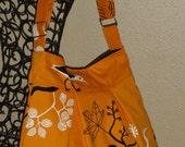 Orange Messenger Bag Purse Shoulder Bag Ikea Gunilla fabric Orange with birds