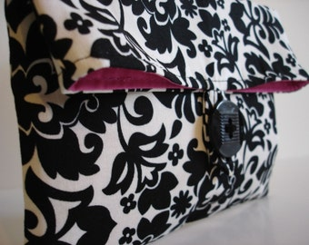 Ready To Ship Black and Ivory Damask  Makeup Bag Clutch Hot Pink Interior