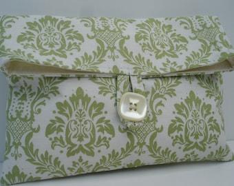 Green Damask Cosmetic Bag Makeup Bag Makeup Storage Bag
