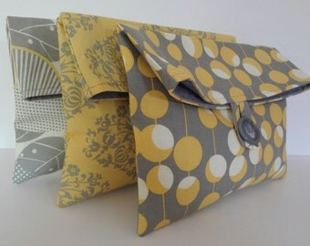 READY TO SHIP Set of 3 Bridesmaid Bags in Amy Butler Fabrics - Yellow and Gray Wedding - Bridemaids Clutches