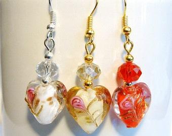 Heart Lampwork Glass with Swarovski Crystals Dangle Earrings