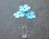 Guitar Pick Flower Bouquet - Ready to Ship - Light Blue Flowers