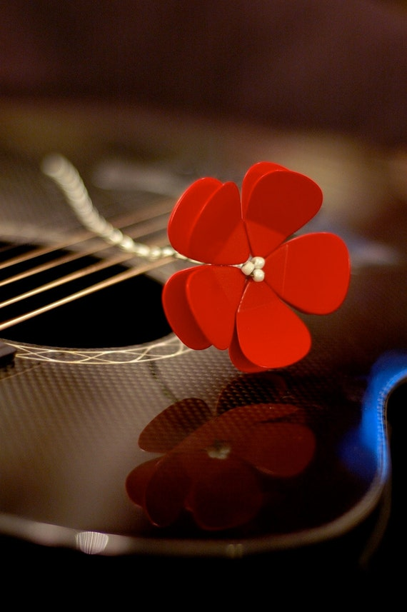 Red Poppy Guitar Pick Flower - Ready to Ship