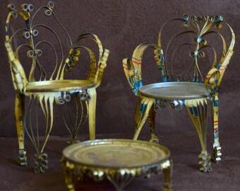 Tin Chairs and Table --Tin Can Tramp Art--Folk Art Doll Chairs and Table - Soda Beer Food Can Art --70s