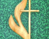 Cross of the United Methodist Church - UMC - Cross and Flame Wood Carving