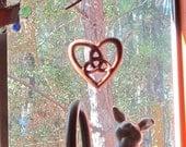 Trinity Heart Shaped Celtic Wood Carving - Hearts Belief - Holy Trinity