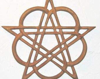 Celtic Healing Pentacle - Heart Pentacle Wood Carved Celtic Knot