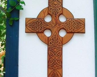 One of a Kind-Large Peace and Harmony Celtic Christian Cross Wood Burned