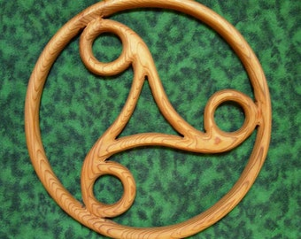 Triskele-Perpetual Motion-Celtic wood carving-Cycle of Life, Death, Rebirth