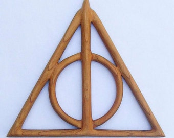 Deathly Hallows Wood Carving- Cloak of Invisibility- Resurrection Stone and Elder Wand