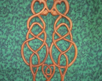 Cat Love Knot-Wood Carved Celtic Style - Anti Co Dependency Love Knot