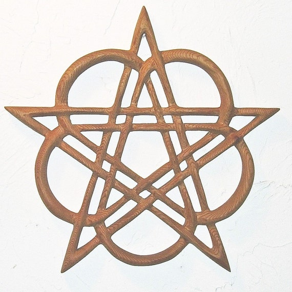 Celtic Healing Pentacle Heart Pentacle Wood Carved Celtic