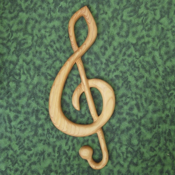 Treble Clef-Wood Carved Musical Notation