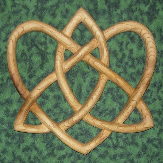 Trinity Love Knot -Heart-Shaped Celtic Wood Carving - Irish Love Knot Variation