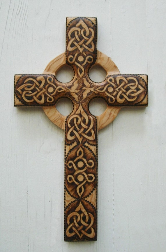Love and peace celtic christian cross stylized