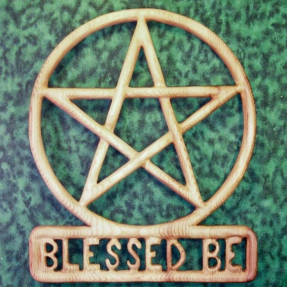 Blessed Be Pentacle Wood Carved Encircled Pentagram Wiccan