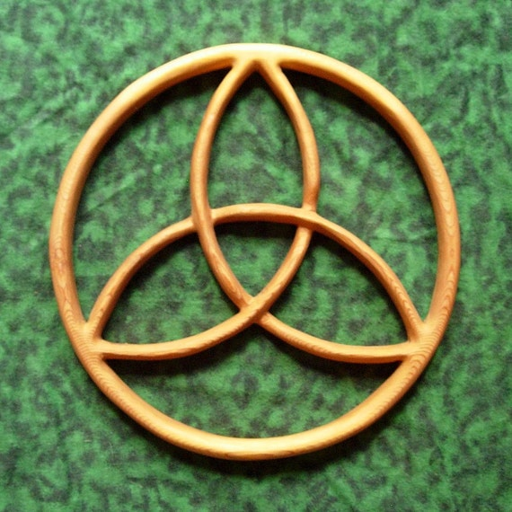 Trinity Knot Encircled Wood Carved Celtic Knot Balance in